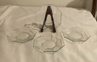 Set of 4 Vintage Arcoroc Clear Glass Hexagonal Bread Butter PLATES France signed