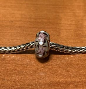 Authentic Trollbeads Purple/Brown Swirl Design Unique Ooak Bead CC New!