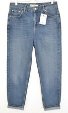 Topshop MOM High Waisted Rise Blue Tapered Cropped Jeans Size 12 W30 L30