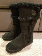 MICHAEL KORS Women's WINTER TALL BOOTS BLACK Shearling SUEDE MK LOGO size 5 NIB