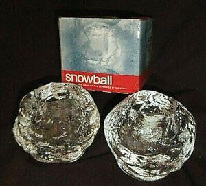 KOSTA BODA 2x. Snowball Votives Candle Holders 1973  Ann Warff Design  Ix MIB