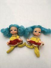 1969 Vintage Remco Finger Ding Dolls - Lot of 2 With Original Clothes Blue Hair