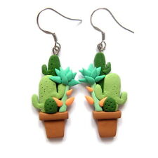 green cactus plant flower statement colorful handmade unique earrings jewelry