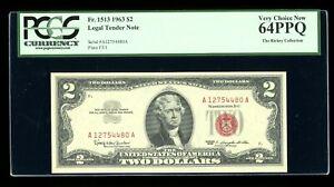 DBR 1963 $2 Legal Fr. 1513 PCGS 64 PPQ Serial A12754480A