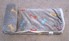 Furrybaby Fleece Dog Blanket Medium Gray with Colored Bone Print