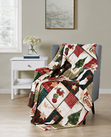Ultra Plush Merry Christmas Plaid Farmhouse Hypoallergenic Fleece Throw Blanket