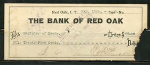 US THE BANK OF RED OAK, INDIAN TERRITORY CANCELLED CHECK 3/12/1908