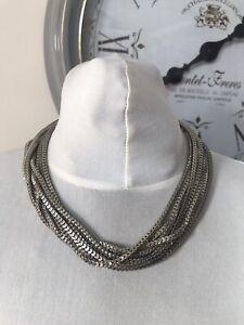 Silver Tone Multi Strand Box Link Collar Length Necklace,
