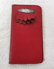 Bifold Checkbook Cover Red Leather Wallet Western Style Unisex NEW JE6