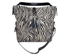 NUOVO 4614 donna nero vera pelliccia di mucca zebra print in pelle tracolla borsetta