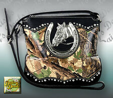 Montana West Horse & Horseshoe Camouflage​e Cross body Bag-GRN