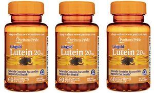 3 Pack Puritan's Pride Lutigold Lutein 20 mg 60 Softgels, FREE P&P