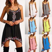 Women Summer Boho Floral Sleeveless Mini Dress Casual Loose Short Sundress