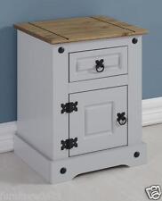 Grey Pine Top  Petite 1 Door Bedside Chest W43.5cm x D36cm x H58.5cm CORNET