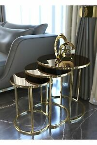 Unbreakable Bronze Glass Coffee Tables Gold 3Pcs Table Modern Living Room Round