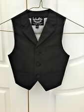 Boys Size 3 Industrie Indie Tailored Formal Vest  Dark Grey Pinstripe Lined