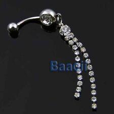 316L Surgical Steel Crystal Long Tassel Dangle Navel Belly Ring Bar 70mm Cute TW