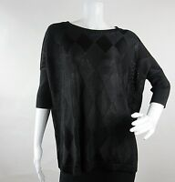 Rondina Designer Womens Pullover Top Blouse Size M Black Knit Short Sleeve