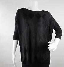 Rondina Designer Womens Pullover Top Blouse Size M Black Knit Short Sleeve