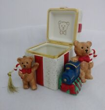 PartyLite Teddy Bear Gift Box Votive Candle Holder w Christmas Ornament Boxed