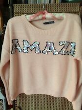 GREAT PINK SEQUINNED 'amaze' CROP JUMPER, SIZE 10, ACRYLIC, NICE DETAILED KNIT.