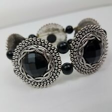 Braided Black Faceted Rope Dot Beaded Bracelet Stretch Round Statement Big Chunk
