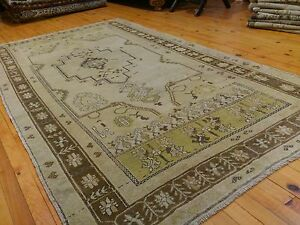 "Antique Cr1900-1939s Gold-Ivory Colors Wool  Pile Oushak Area Rug 4'5""×8'3"""
