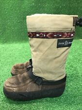 Steger Mukluks Traditional Tall Brown Womens Canvas And Suede Moose Youth Sz 4