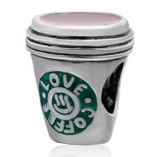 Coffee Cup Mug 925 Sterling Silver CZ Charm Bead Fits European Bracelet S3285