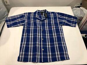 NWT $40.00 Polo Ralph Lauren Mens Button Down SS Sleepshirt Blue Plaid MEDIUM
