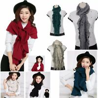 Womens / Ladies / Girls Winter Woolie Knitted Bobble Ruffle Scarf