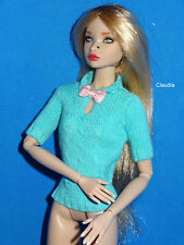 Turquoise KNIT TOP w/ BOW  1:6 f Fashion Royalty Poppy Parker Barbie by Jason Wu