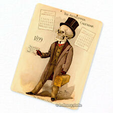 Antikamnia 1899 Calendar #4 Deco Magnet, Antique Illustration Skeleton Fridge