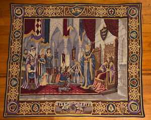 """Amazing Wall Tapestry 28x33 Michael Chisarik  Signed """"The Court Of Camelot"""" #298"""