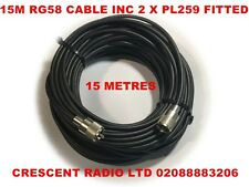 RG58 49FT 15 METRES GOOD QUALITY 50 Ohm COAX WITH A PL259 Plug ON EACH END