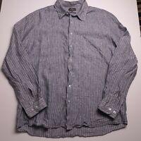 Rodd & Gunn Men's Shirt Size 2XL 100% Linen Blue White Stripes