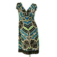London Times Womens Dress 6 Brown Blue Aztec Geo Cap Sleeve Ruched Bodice Sheath