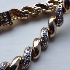Sterling Silver 925 Gold Plate Diamond Tennis Bracelet 15.9g 5mm 7 1/2 Inch
