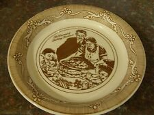Royal China Norman Rockwell Brown Freedom From Want Thanksgiving Pie Plate EXC.