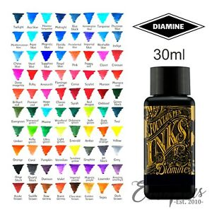 Diamine Bottled Ink Plastic Bottle 30ml For Fountain Pens MADE in UK  Full Range