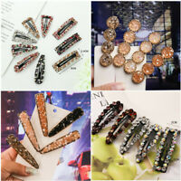 Women's Girls Geometric Crystal Hair Clips Barrette Slide Hair Clip Hairpin Gift