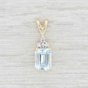 1.44ctw Aquamarine Diamond Pendant 10k Yellow Gold March Birthstone