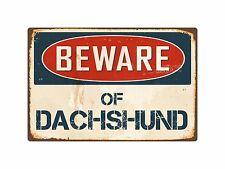 "Beware Of Dachshund 8"" x 12"" Vintage Aluminum Retro Metal Sign VS133"