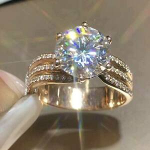 2Ct Round Cut Diamond Solitaire Women's Engagement Ring 14K Rose Gold Finish