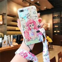 Cartoon Disney Princess Mermaid Strap soft case Cover for iPhone XS Max 8 7 Plus