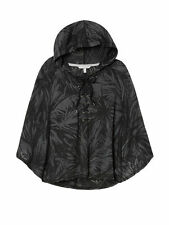 New Medium Hooded Fleece Poncho Lace-Up Hoodie Victoria's Secret Black Palm