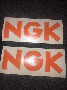 NGK Spark Plugs Car Decals Retro Vinyl Stickers Lot Of 2 In Orange