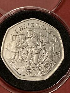 1995 Isle Of Man Christmas 50p Fifty Pence Coin Christmas Coin In Capsule