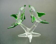 Verre Dauphin Ornement, Clair & Vert Peint Verre Ornement, verre animaux cadeau