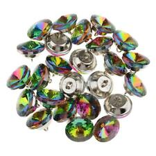 25 Colorful Crystal Upholstery Buttons With Metal Loop For Sofa Decor 20mm